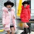 2016 Зимние девушки сплошной цвет с длинными рукавами хлопок-ватник дети девушки большие плюшевые карманы одежды пальто
