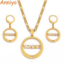 Anniyo Marshall YOKWE Pendant Necklaces Earrings sets for Women Gold Color Jewelry Gifts (CANNOT CUSTOMIZE) #039921