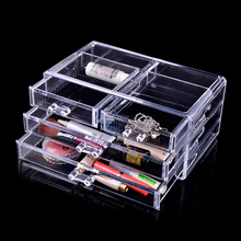 Clear Four Drawers Crystal Makeup Cosmetic Organizer Acrylic Case Lipstick Display Makup Brushes Cabinet Case #10052 moma muji acrylic case 5 drawers