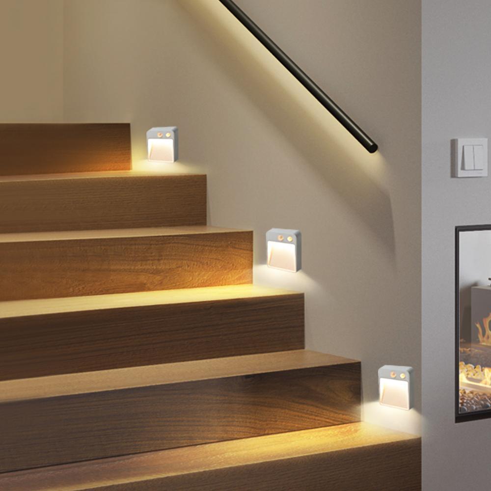 Lampa LED czujnik podwójny indukcyjny czujnik ruchu PIR światła do szafki magnetyczny bezprzewodowy kinkiet szafa schody krok, noc, lekki Oświetlenie mebli    - AliExpress