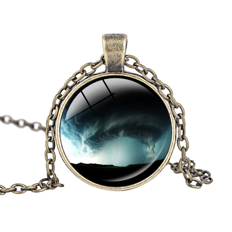 Storm Necklace Tornado pendant Twister Storm Chaser Wizard of Oz Art Pendants Glass Cabochon Art Glass Dome Pendant Necklace
