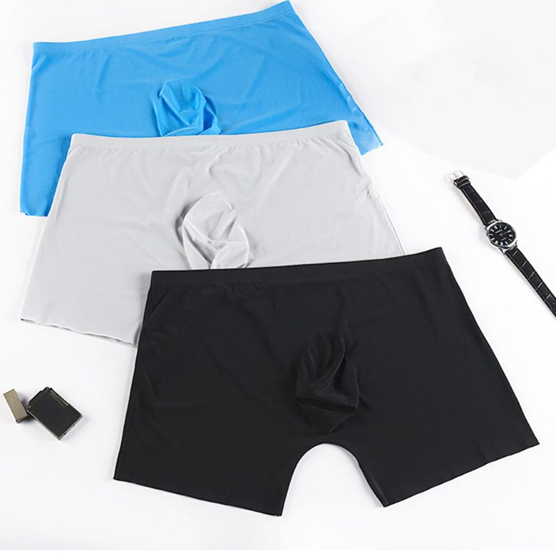 Mens Plus Size Ice Silk Underwear Seamless 3D U Convex Pouch Solid Color Boxer Shorts Mid Waist Loose Elastic Ultra-Thin Panties