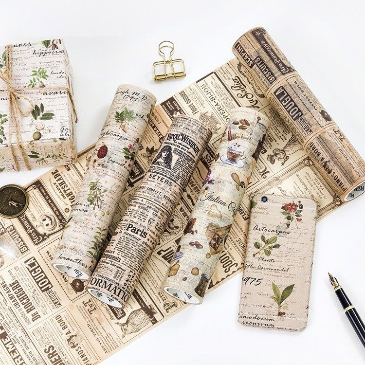 Large-size 200mm*5M Old Newspaper/Poste/Letter Pattern Japanese Washi Decorative Adhesive Tape DIY Masking Paper Tape Sticker