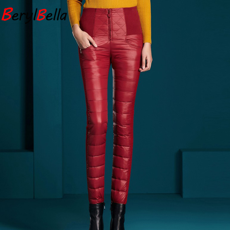 Image 5 - BerylBella spodnie zimowe damskie dorywczo wysokiej talii zamek Slim podwójne obliczu kaczki dół ciepła, czarna Bule ołówek spodnie w Spodnie i spodnie capri od Odzież damska na