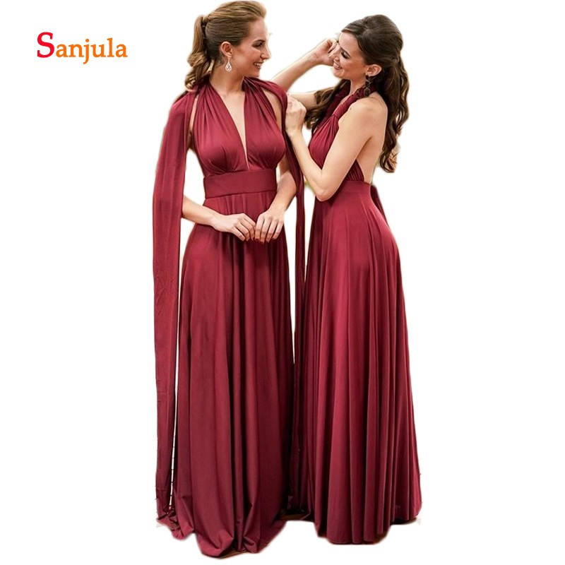 Burgundy   Bridesmaid     Dresses   A-Line V Neck Formal Prom   Dresses   for Women Backless Wedding Party   Dress   with Straps robe femme D324