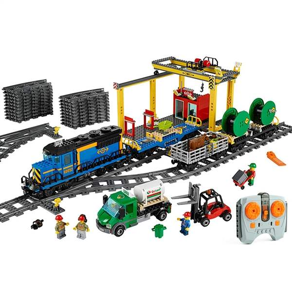 DHL LP 02008 City Train Series The Cargo Train Set Legoing 60052 Building Blocks Bricks Toys As Children Christmas Gifts