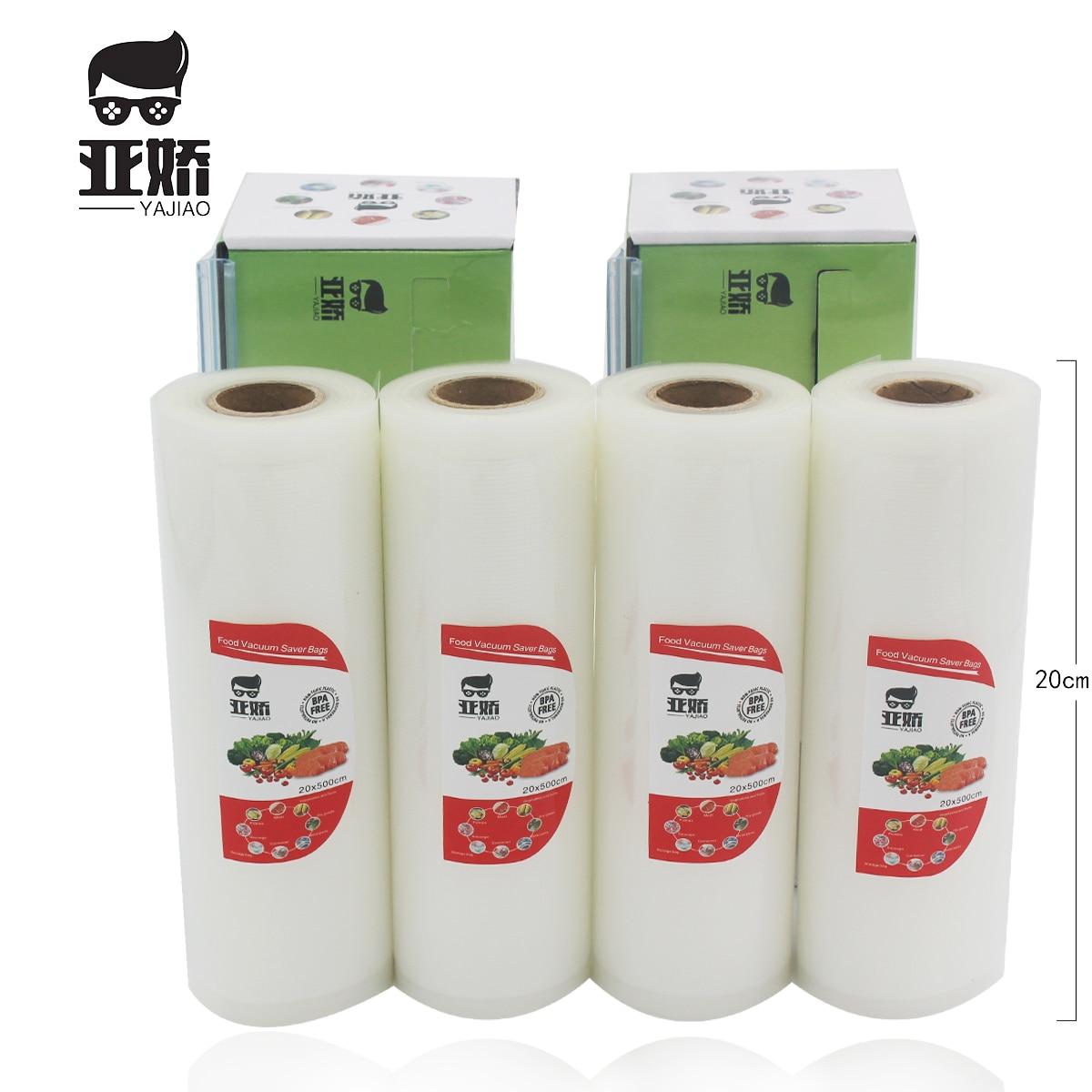 YAJIAO Food Vacuum Sealer Bag 20cm*500cm With Cutting Knife Box For Vacuum Sealer Food Fresh Kitchen Long Keeping Storage Bag
