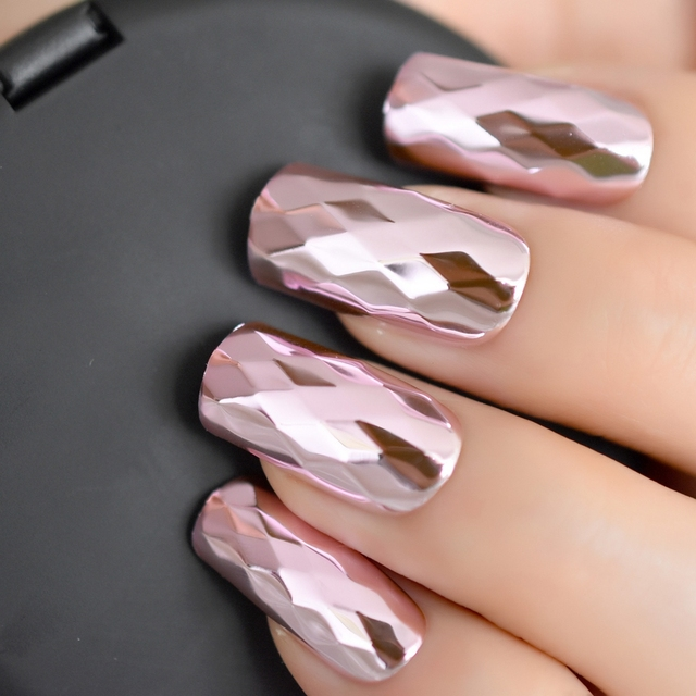 Diamond Design Mirror Nails Long Size Pink Metallic Salon Nail ...