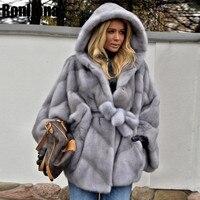 Новинка 2018, пальто из натурального меха норки с капюшоном, куртка с рукавами «летучая мышь», женское меховое пальто с поясом, зимнее натурал