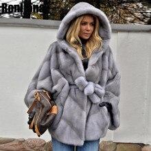 2019 New Real Mink Fur Coat With Hood Bat Sleeved Jacket Women Fur Genuine With Belt Overcoat Winter Real Fur Natural MKW 107