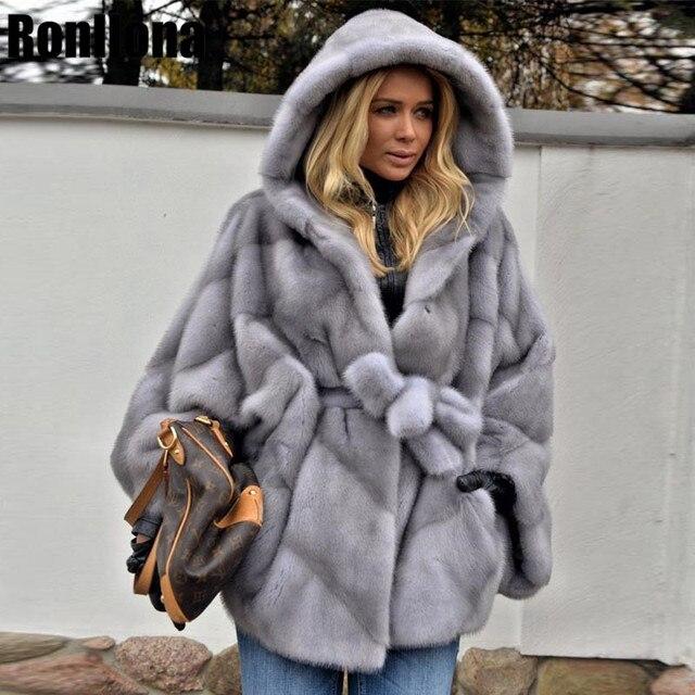 Abrigo de piel de visón auténtica con capucha Chaqueta de manga de murciélago para mujer, abrigo de piel auténtica con cinturón, MKW 107 Natural de piel auténtica para invierno 2019