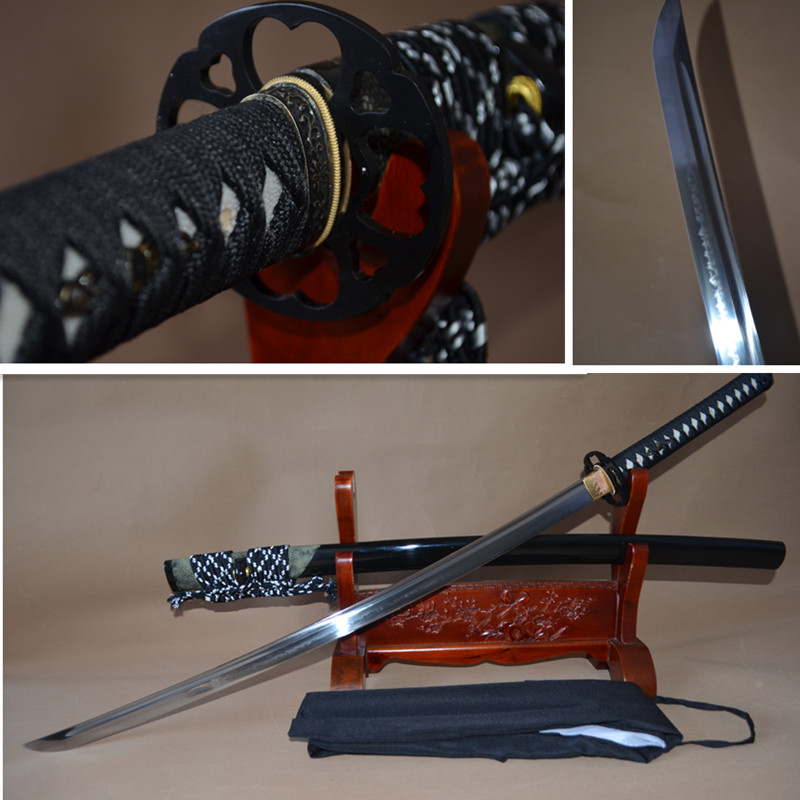 Japanese Samurai Sword KATANA Full Tang 1095 High Carbon Steel Clay Tempered Blade Sharp Can Cut Bamboos Genuine Rayskin