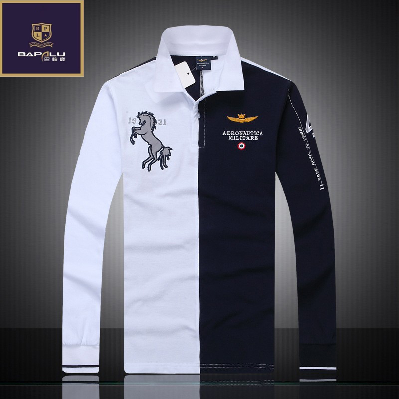 summer   polo   shirt men's boutique embroidery breathable 100% cotton   polo   shirt lapel Men's Air Force One Long sleeves   polo   shirt