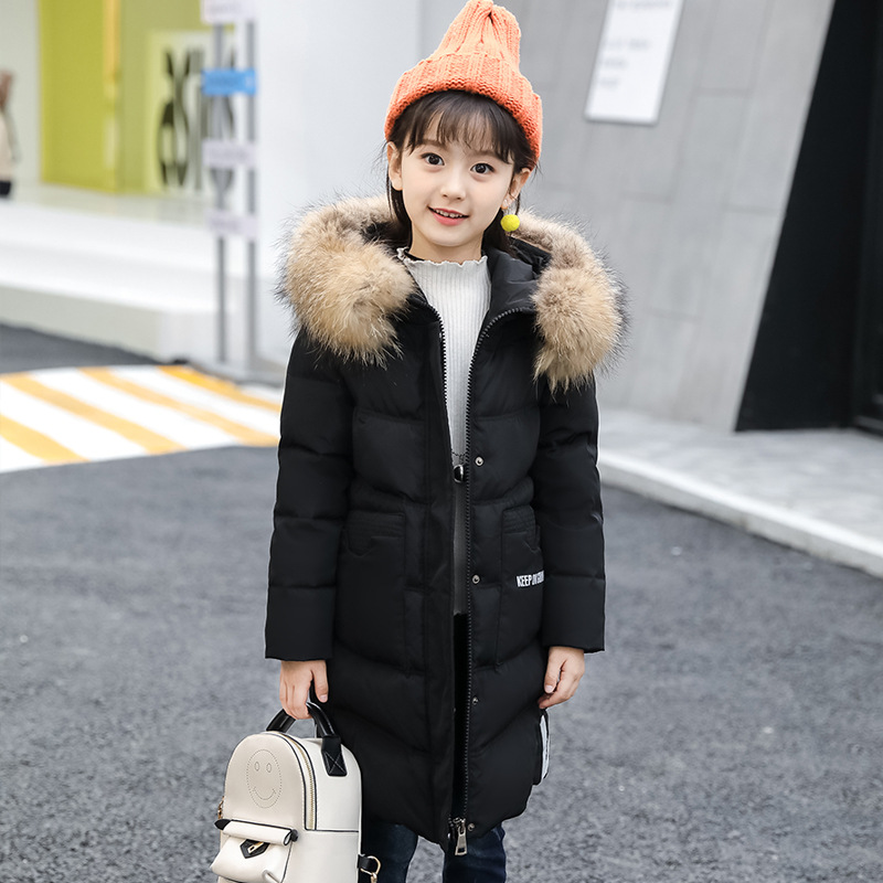 все цены на Children down jacket 2018 new Kids clothing girls long feather hooded jacket for teenage 4 6 8 10 12 14 years winter warm coats