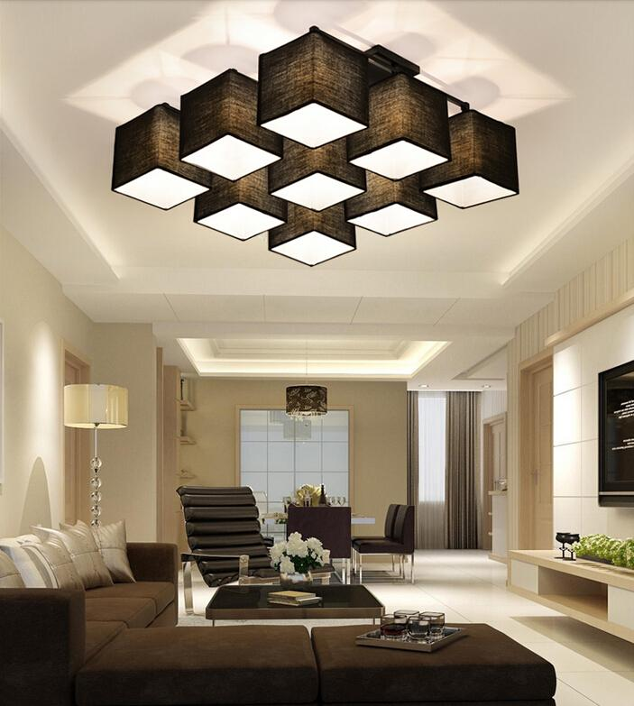 Country Style Multi Square Shade Ceiling Light Dinner Room Lamp Sitting House Lighting Different Form