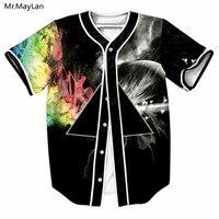 Triangle Colorful Smog Hipster 3D Print Baseball Jersey Men Streetwear T shirt Boys Cardigan Black T shirt Tshirt Tees Clothes