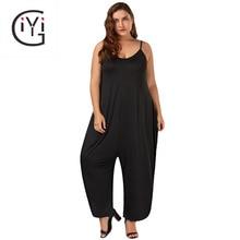 Giyi плюс Размеры 7XL 6XL 5XL широкие брюки палаццо длинные штаны комбинезон Женщины Спагетти ремень свободные шаровары мешковатые комбинезон Комбинезоны