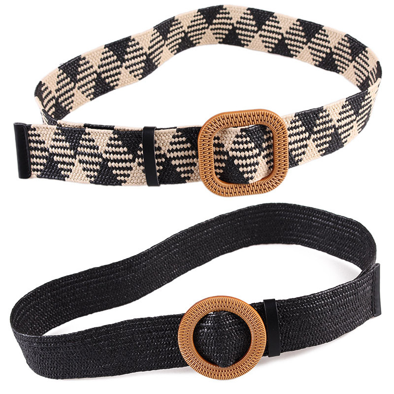 New Vintage Knitted Wax Rope Wooden Bead Waist Rope Women Smooth Buckle Belt Woman Woven Female Hand-Beaded Braided Belt BZ16