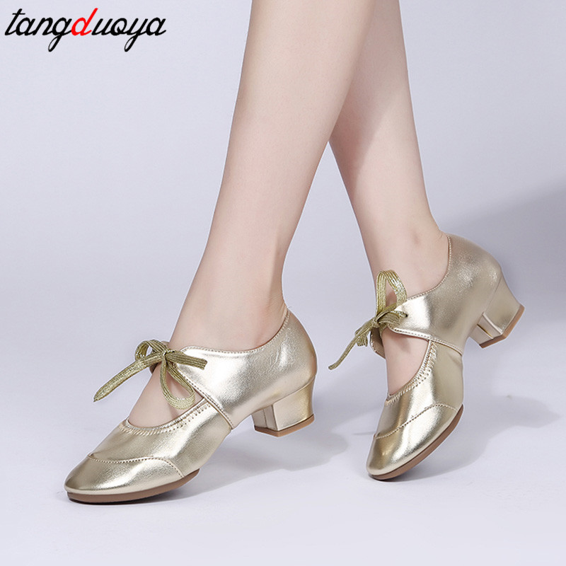 Adult Professional Dance Shoes Women Ballroom Latin Dance Shoes High Heeled Ladies Shoes Square Heel Buty Damskie