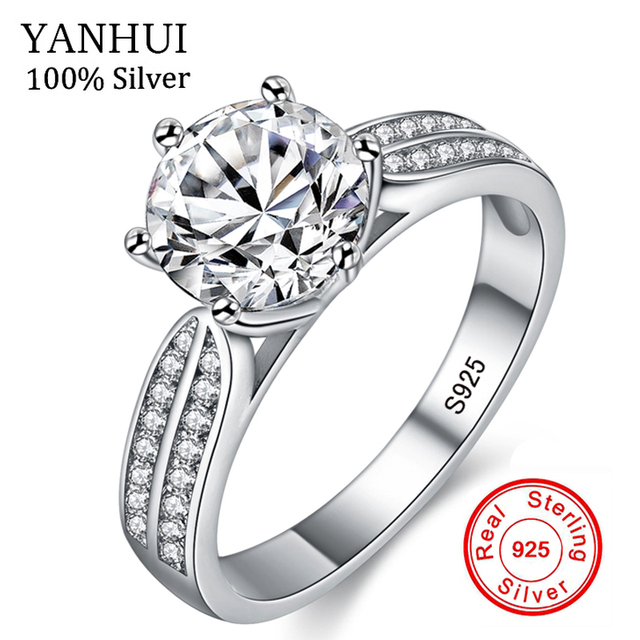 Yanhui 100 Real Natural 925 Sterling Silver Rings For Women Luxury 8mm Sona Cubic Zirconia