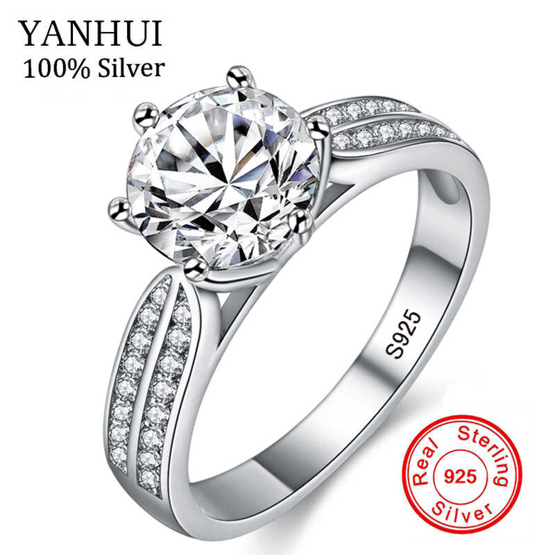 e8aa325531b59 YANHUI 100% Real Natural 925 Sterling Silver Rings for Women Luxury 8mm  Sona Cubic Zirconia Wedding Rings Fashion Jewelry ZLR006