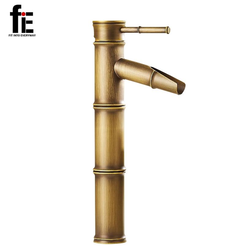 fiE Antique Brass Waterfall Bathroom Sink Faucet Vessel Tall Bamboo ...