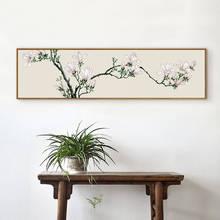 Retro estilo Chinês decoração flores brancas cartazes de parede retrato da arte de folhas velhas árvores Pintura Da Lona sala de estar No Frame