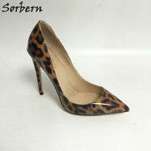 Sorbern Multi-color Leopard Направленный Toe Женщины Насосы 12cm Stilettos Высокие каблуки Slip On Shoes для женщин Размер 34-46 Custom Color
