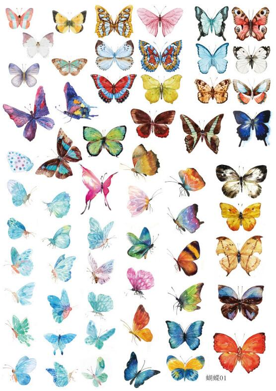 Uncut A5 Hand Painted Butterfly Decorative Sticker Set Diary Album Label Sticker DIY Scrapbooking Stationery Stickers Escolar
