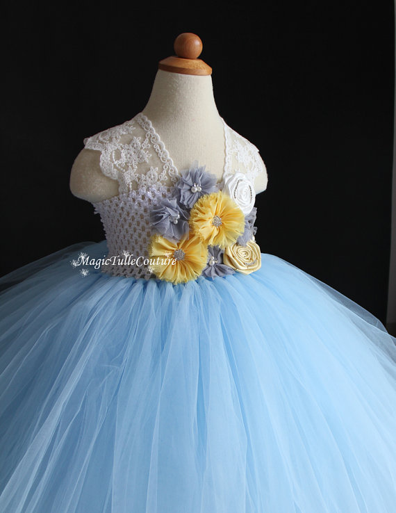 Light blue and yellow grey baby girls dresses flower girl tutu dress light blue and yellow grey baby girls dresses flower girl tutu dress birthday wedding dress for occasion party in dresses from mother kids on mightylinksfo