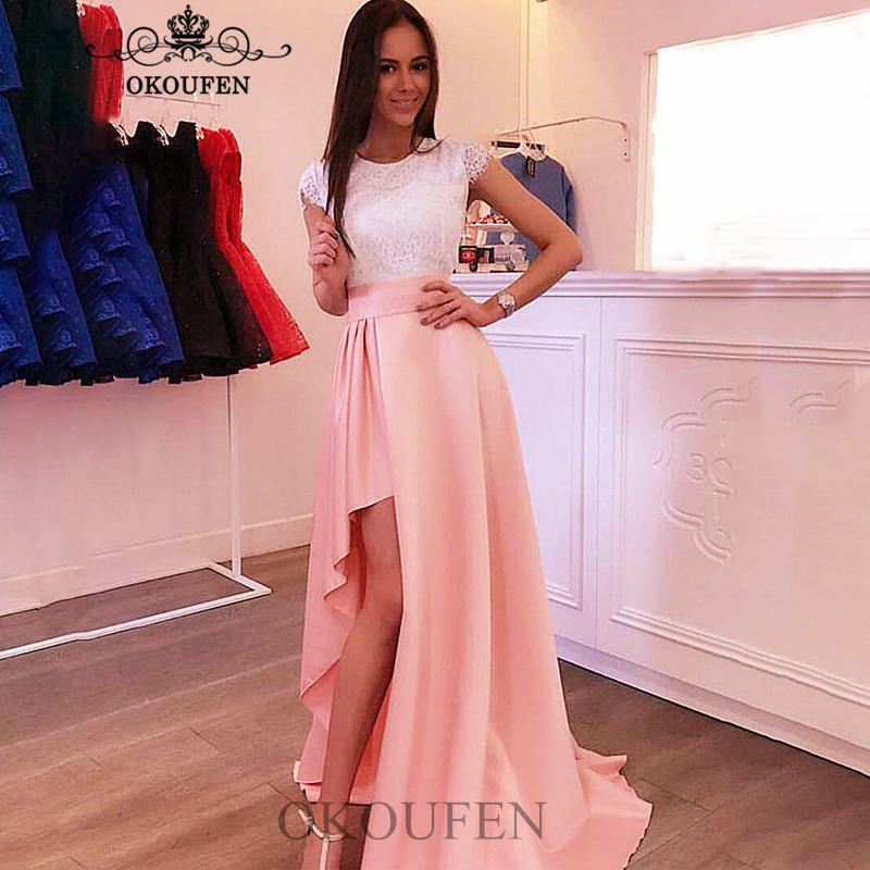 High Low Side Split Bridesmaid Dresses White Lace Top and Pink Skirt Mermaid Long Wedding Guest Dress Party For Women