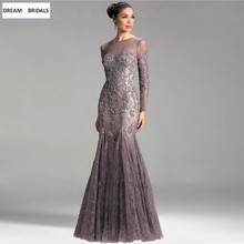 Sexy Mermaid Scoop Lace Mother Of The Bride Dresses Illusion Long Sleeves kurti