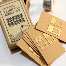 12pcs/pack Mini Copper Bookmark Clips Cute Numbers Plated Metal Bookmarks StationeryBook Line Marker Gift Package for Christmas