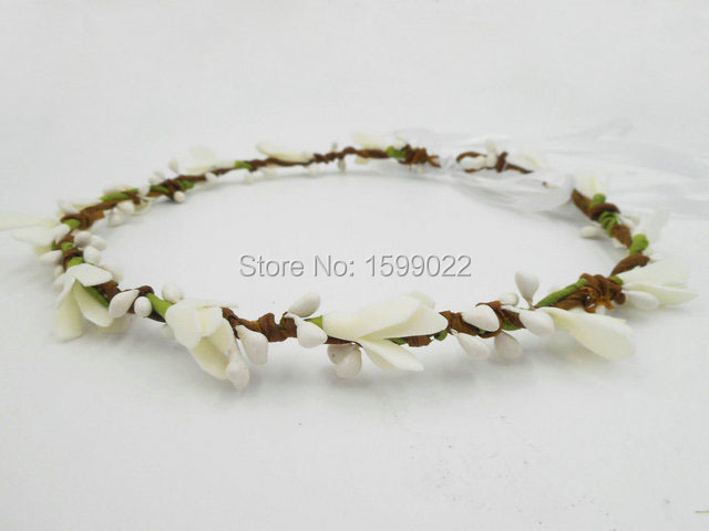 Bohemian Floral Hair Band Foam Flower Halo Boho Headdress Ivory White Simple Wedding Hair Accessories First Communion Headwear chifres malevola png
