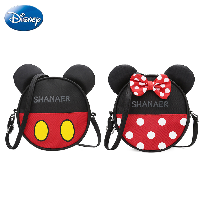 bcb0824904 Disney Mickey Minnie Mouse Bowknot Backpack Children s Messenger Bags Chest  Coin Purse Kids Backpacks Cartoon Kindergarten Bags