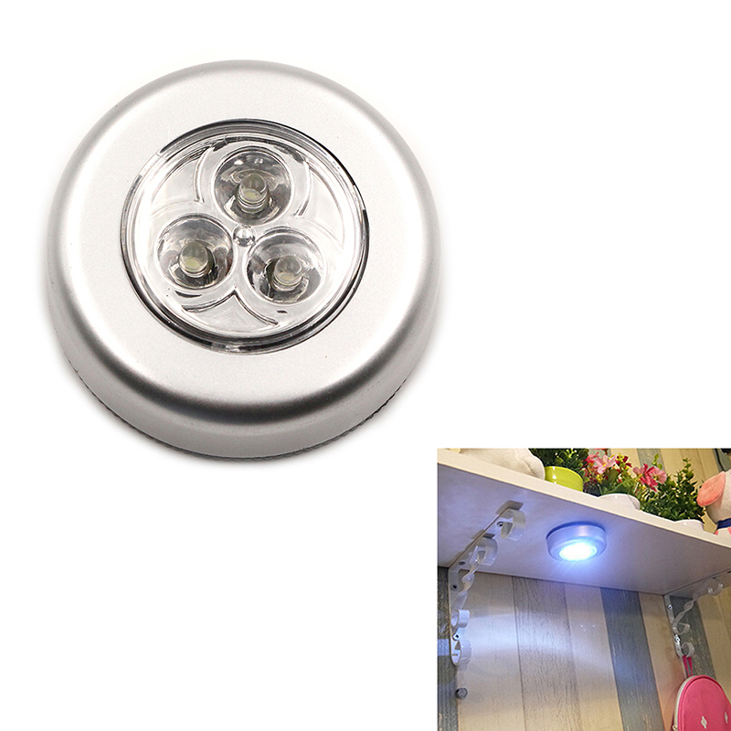 Hot 1pcs 3 LED Stick Touch Light Lamp Battery Powered Stick Tap Worldwide Kitchen Cabinet Closet Push Tap Home Stick On Lamp