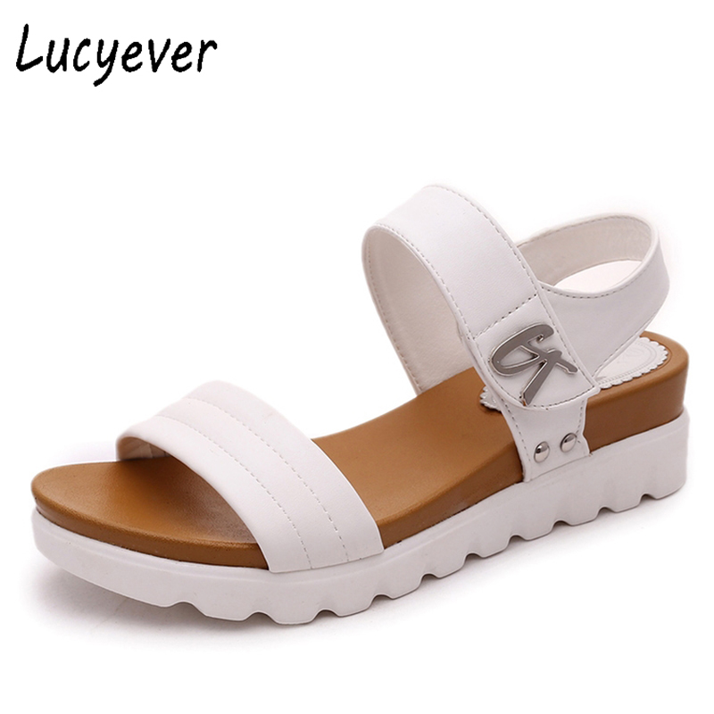 Lucyever Summer Gladiator Sandals Women PU Leather Fashion Shoes Casual Occasions Comfortable Wedges Shoes Woman 35-40 women sandals 2017 summer shoes woman wedges fashion gladiator platform female slides ladies casual shoes flat comfortable