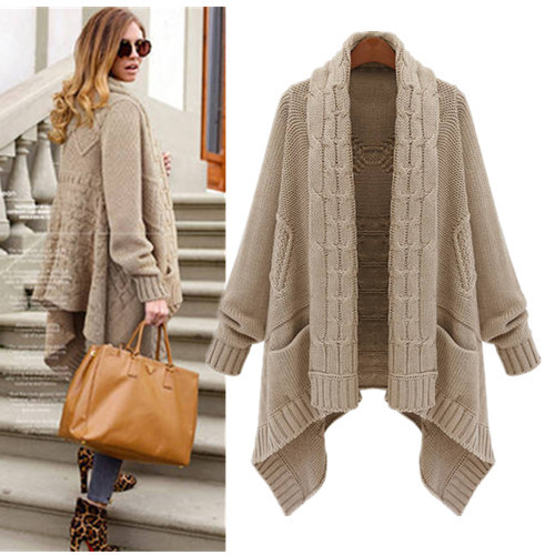 2 Color Long Warm Causal Asymmetrical Sweater Spring Cardigan 2015