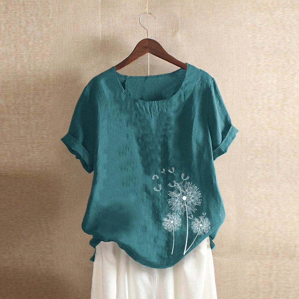 Plus Size Blouses Woman Tunic Ladies Tops Cotton Linen Korean Fashion Clothing Short Sleeve Women Clothes 2019 Camisas Mujer