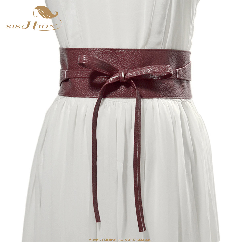 SISHION Belt For Women Bowknot Faux Leather Wrap Around QY0246 Waistband Black Cummerbund Brown Women Belt