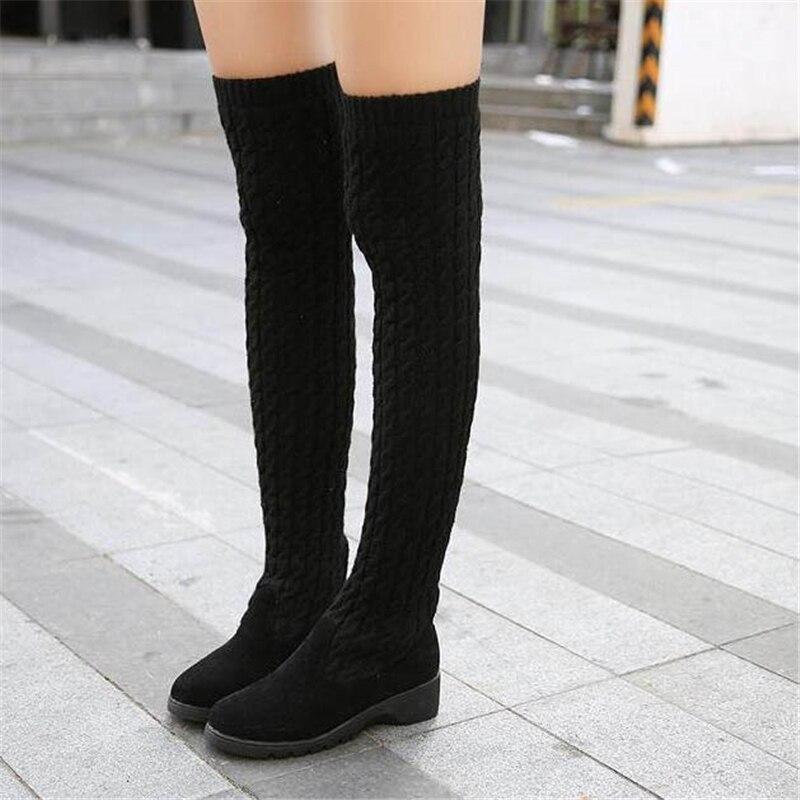 6b04f6fd2 2018 Модные трикотажные Для женщин сапоги до колена эластичные тонкие  осень-зима теплые Ботфорты женская обувь размер 40