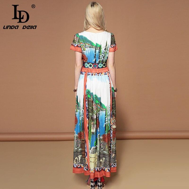 LD LINDA DELLA Fashion Runway Vacation Holiday Dress Women's V Neck Art Printed Sequin Waist Bohemian Summer Maxi Long Dress
