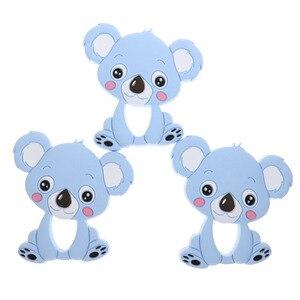 Image 4 - Großhandel Waschbären Silikon Koala Baby Beißring 10pc BPA FREI Neugeborenen Zahnen Halskette Dusche Geschenk Cartoon Tier Anhänger DIY Eule