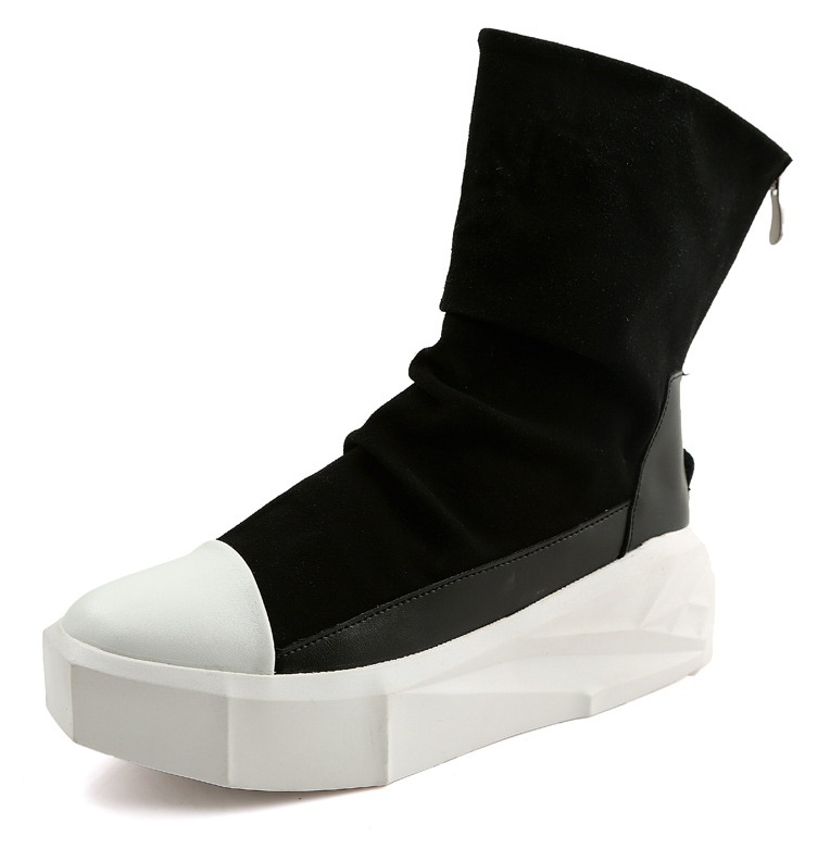 Men 8cm Height Increasing Platform Boots Back Zip Leather Shoes Male Mixed Colors Y3 High Top Black White Men's Boots