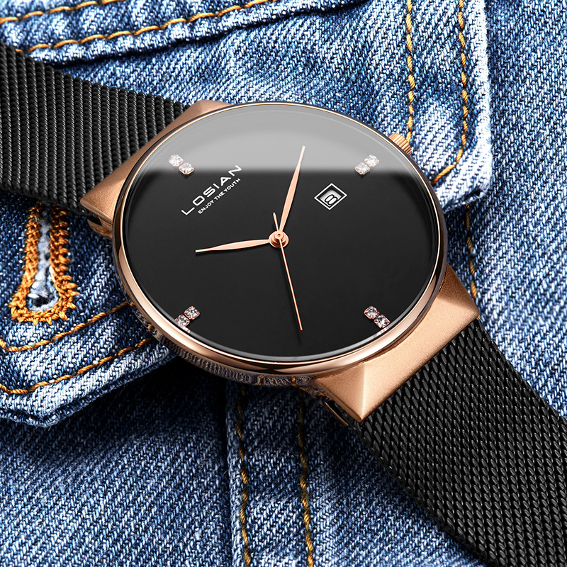 LOSIAN メンズ腕時計防水 2018 新 8 ミリメートルスリム腕時計カレンダーシルバーファッション & カジュアル腕時計メンズ腕時計男性時計 Relojes  グループ上の 腕時計 からの クォーツ時計 の中 2