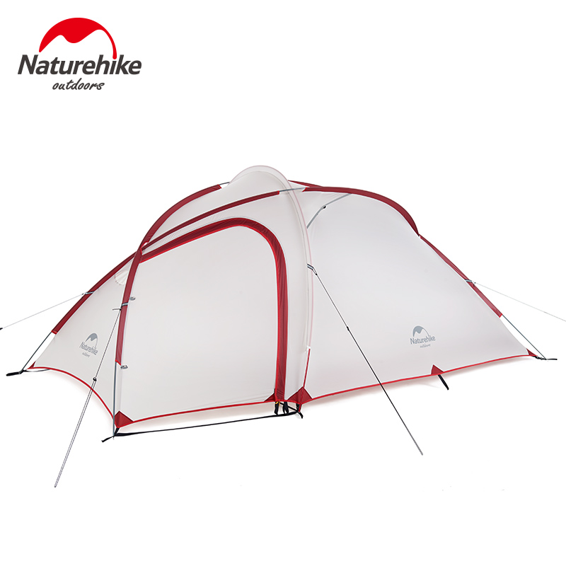 Naturehike Hiby Family Tent 20D Silicone Fabric Waterproof Double Layer 3 Person 4 Season Camping Tent With Mat naturehike factory hiby family tent 20d silicone fabric waterproof double layer 3 person 3 season camping tent one room one hall