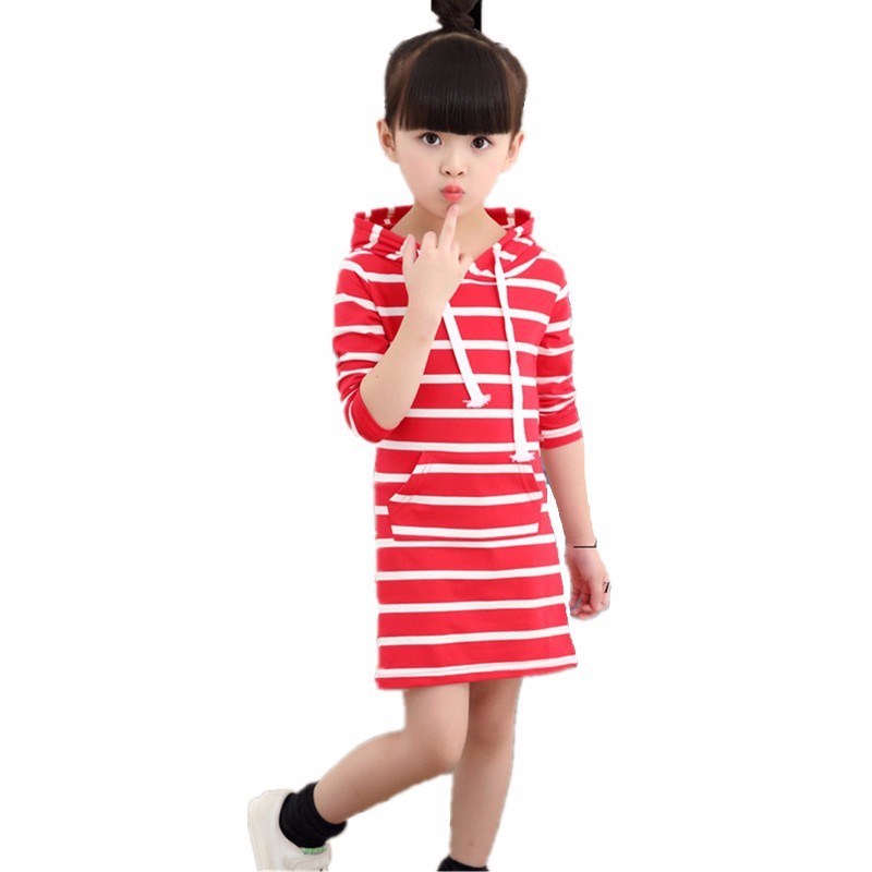 Spring Autumn Girl Dress Hooded Long Sleeve Kids Clothes Toddler Next Casual Children Clothing Striped Tutu Baby Dresses Girls fashion brand autumn children girl clothes toddler girl clothing sets cute cat long sleeve tshirt and overalls kid girl clothes