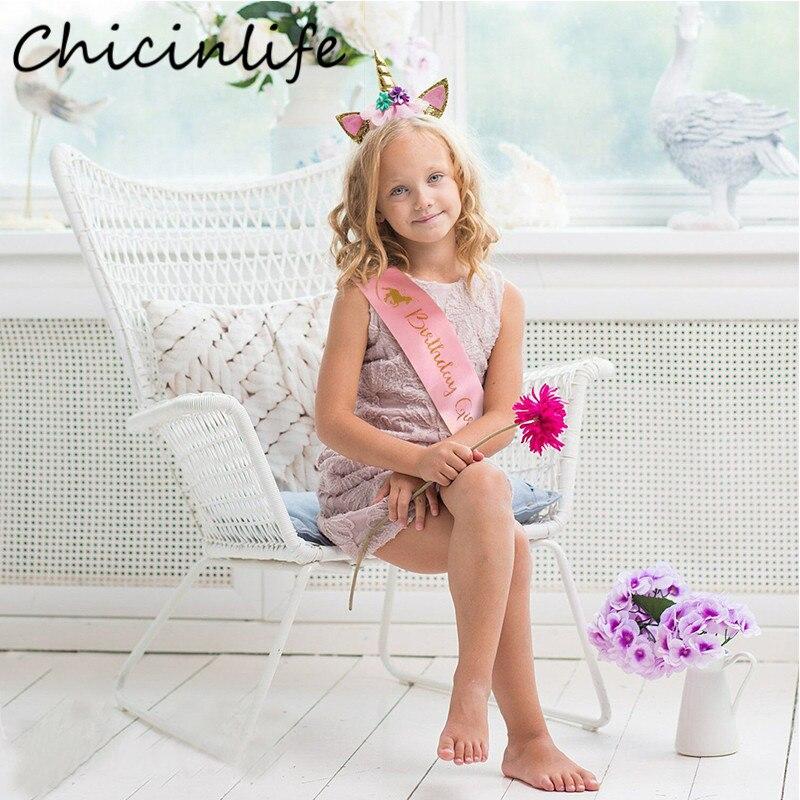 Chicinlife 1Pcs Pink Unicorn Birthday Girl Sash Birthday