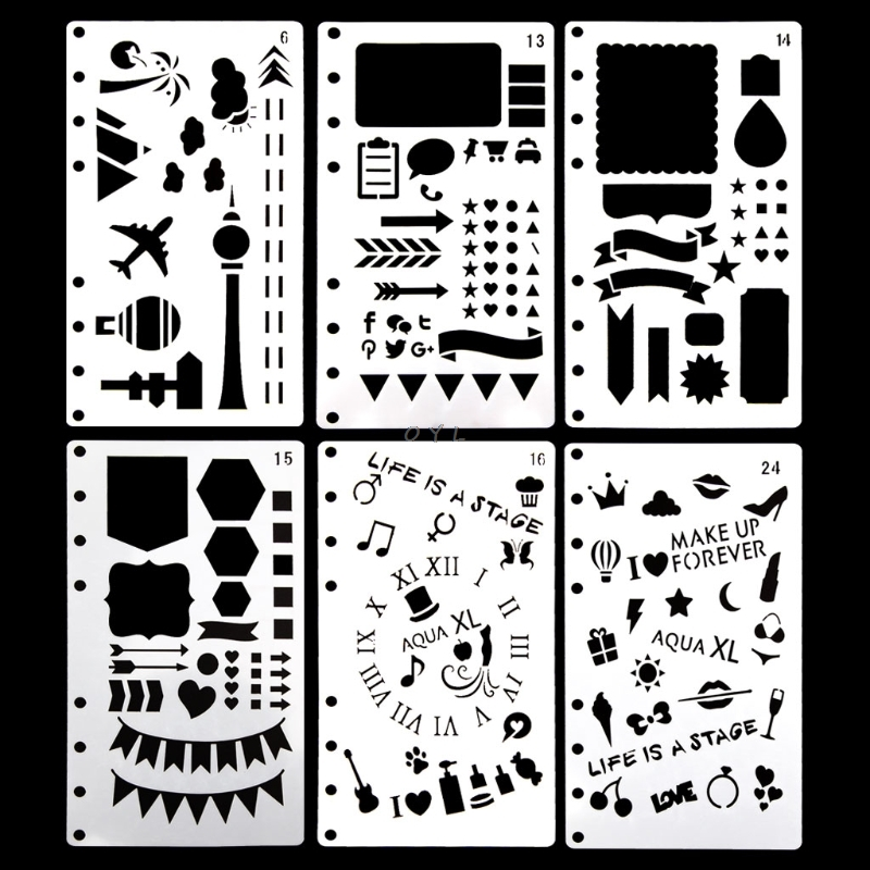 Bullet Journal Stencil Plastic Planner DIY Craft Drawing Template Diary Decor A6