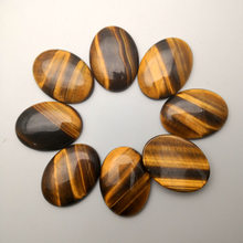 Natural Stone 12-50pcs Tiger eye cabochon 30x40 20x30 25x18 13x18 10x14 mm Bead for jewelry making no hole Necklace accessories(China)